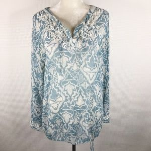 Chicos Blouse 100% Silk Blue Embroidered Size 3 XL
